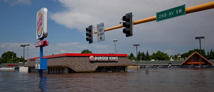 Image of local Burger King under flood water